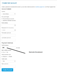 paypal sandbox account creation form